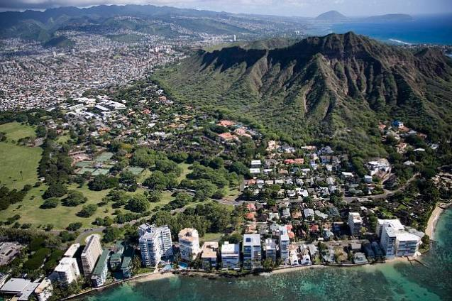 Aerial view of Waikiki Beach and Honolulu, Hawaii